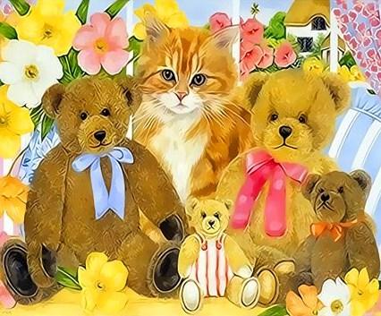 Картина по номерам 30x40 Рыжий котенок и плюшевые медвежата