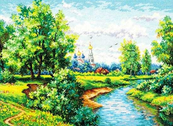 Алмазная мозаика 40x50 Летний лесной пейзаж