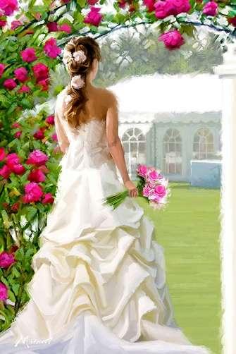 Картина по номерам 40x50 Девушка в свадебном платье