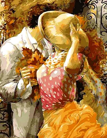 Картина по номерам 40x50 Поцелуй на крыльце