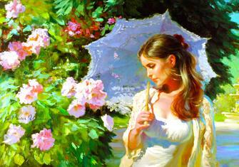 Картина по номерам 40x50 Дама с зонтиком