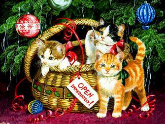 Картина по номерам 40x50 Новогодние котята