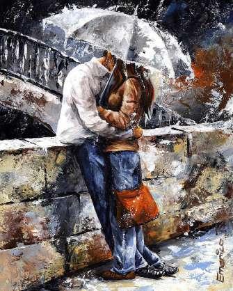Картина по номерам 40x50 Целующаяся пара под дождем