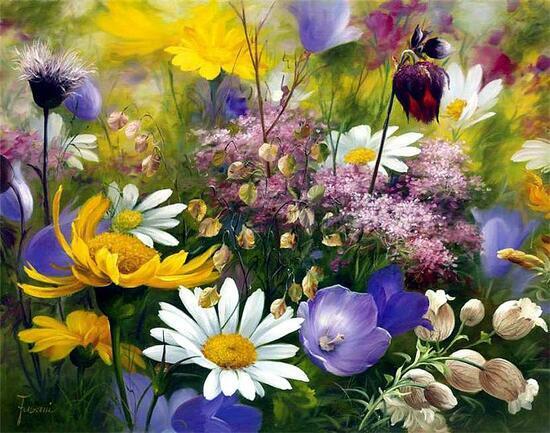 Картина по номерам 40x50 Луговые сочные цветы
