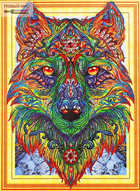 Алмазная мозаика 5D 40x50 Яркая мозаика задумчивый волк