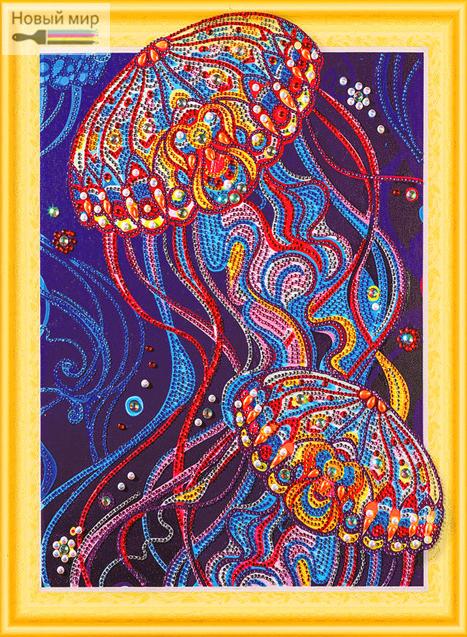 Алмазная мозаика 5D 40x50 Яркие медузы в океане