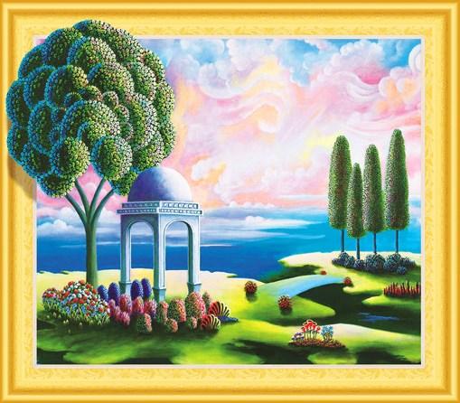 Алмазная мозаика 5D 40x50 Альтанка под цветущим деревом