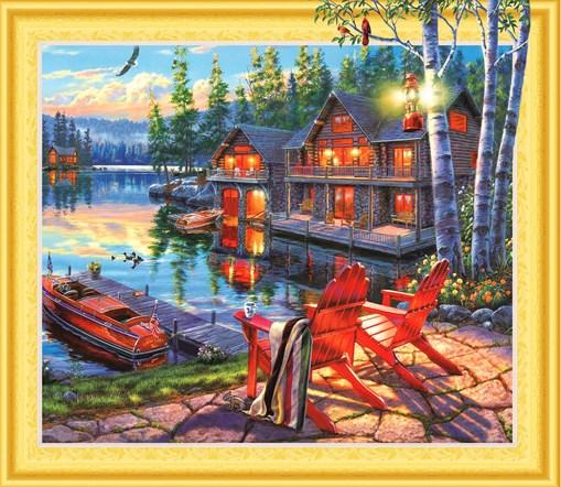 Алмазная мозаика 5D 40x50 Загородный домик на озере