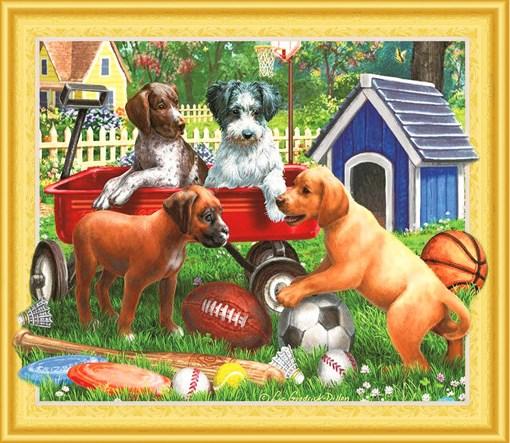 Алмазная мозаика 5D 40x50 Собаки разной породы играют в дворе