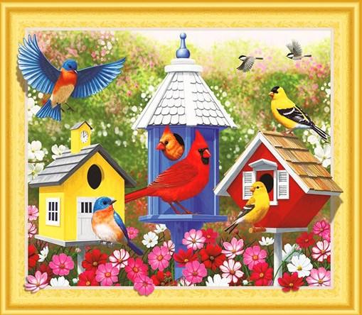 Алмазная мозаика 5D 40x50 Красивые домики птиц