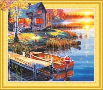 Алмазная мозаика 5D 40x50 Рыбацкий домик у озера с лодками