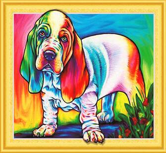 Алмазная мозаика 5D 40x50 Собака Бассет-хаунд
