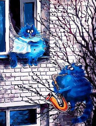 Картина по номерам 40x50 Синий кот, серенада возлюбленной