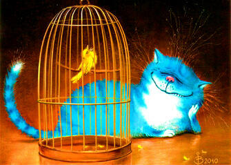 Картина по номерам 40x50 Кошка с попугаем