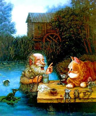 Картина по номерам 40x50 Подводный дедушка и кот