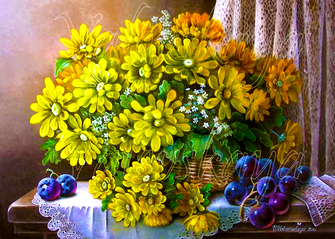 Картина по номерам 40x50 Корзинка с желтыми цветами