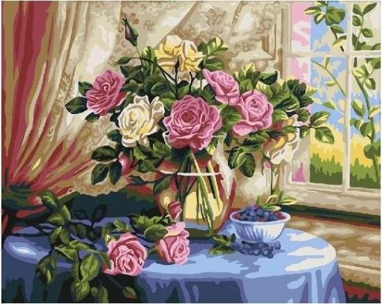 Картина по номерам 40x50 Розы в вазе с черникой у окна