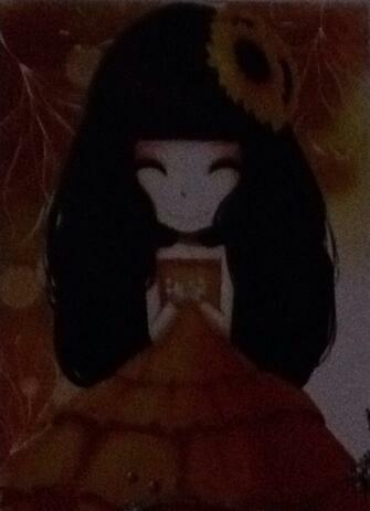 Алмазная мозаика 17x22 Девочка аниме с цветком