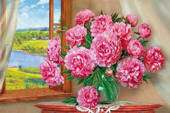 Картина по номерам 40x50 Пионы на окне в летний день