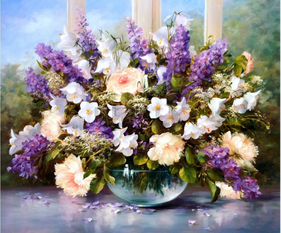 Картина по номерам 40x50 Цветущая лаванда на подоконнике