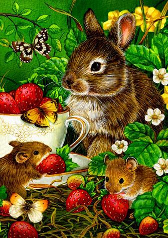 Картина по номерам 40x50 Кролики едят ягоды