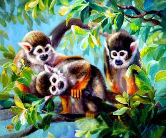 Картина по номерам 40x50 Веселые обезьянки