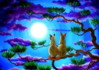 Картина по номерам 40x50 Кошки наблюдают за луной