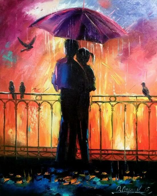 Картина по номерам 40x50 Влюбленные под зонтом