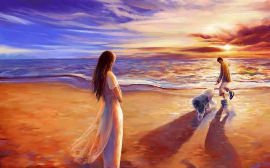 Картина по номерам 40x50 Семейная прогулка у моря