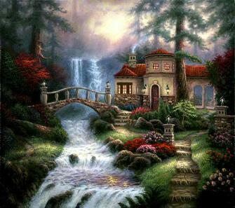 Картина по номерам 40x50 Дом возле водопада