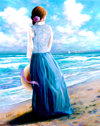 Картина по номерам 40x50 Девушка на море
