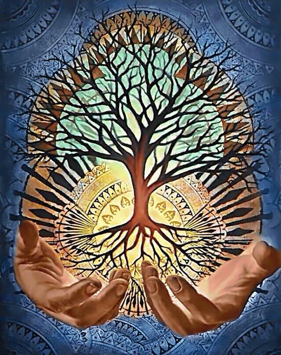 Алмазная мозаика 40x50 Дерево мира на фоне солнца