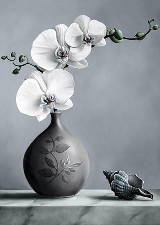 Алмазная мозаика 30x40 Оригинальный кувшинчик с цветущей орхидеей