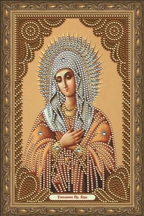 Алмазная мозаика частичная 27x33 Икона Умиление