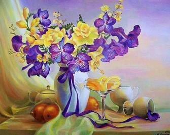 Купить желтые розы и фиолетовые ирисы на столе за 890 руб. в Москве