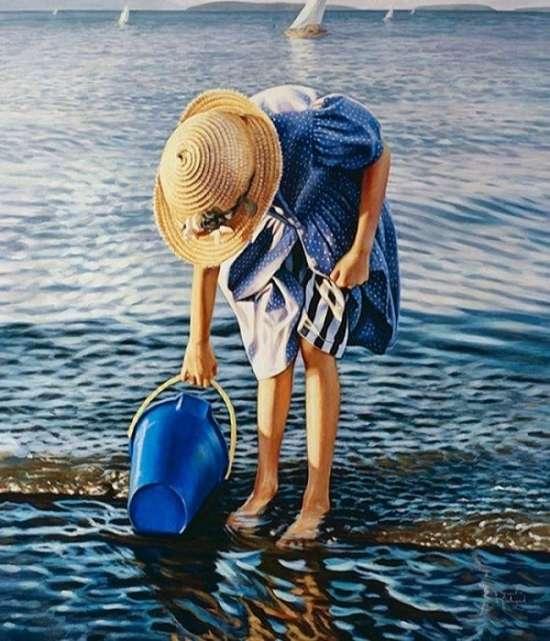 Картина по номерам 40x50 Девочка набирает воду в озере
