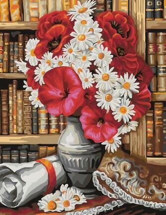 Картина по номерам 40x50 Букет в библиотеке
