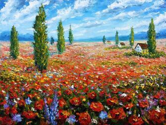 Картина по номерам 40x50 Поле цветущих маков
