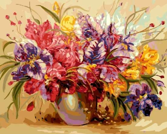 Картина по номерам 40x50 Разноцветие ирисов