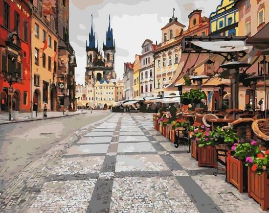 Картина по номерам 40x50 Столица Чехии.Прага.Золотое сердце Европы.