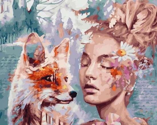 Картина по номерам 40x50 Лиса и женщина. Димитра Милан