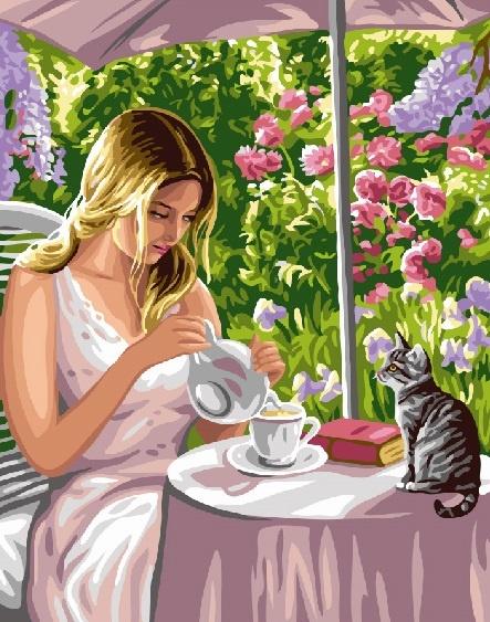 Картина по номерам 40x50 Девушка пьет чай с котенком