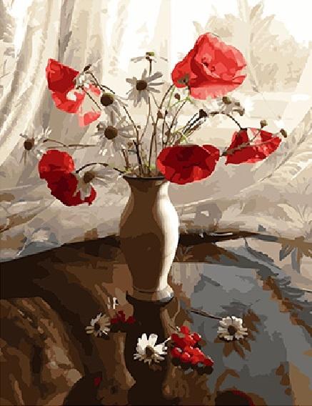 Картина по номерам 40x50 Маки и ромашки в нежной вазе