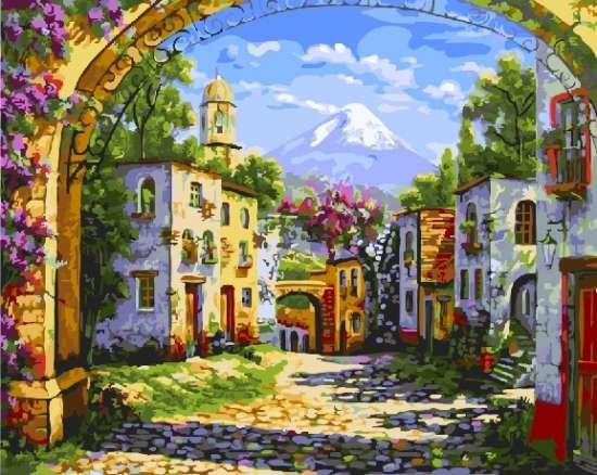 Картина по номерам 40x50 Провинциальный городок в цветах