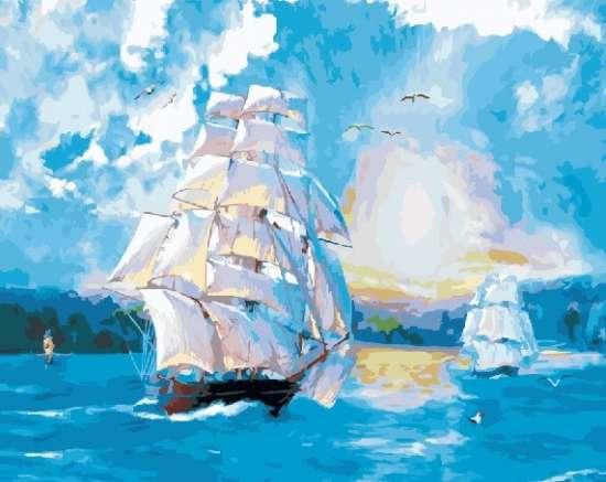 Картина по номерам 40x50 Корабли в море на закате