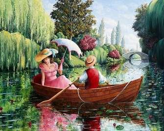 Картина по номерам 40x50 Романтическая прогулка влюбленных на лодке