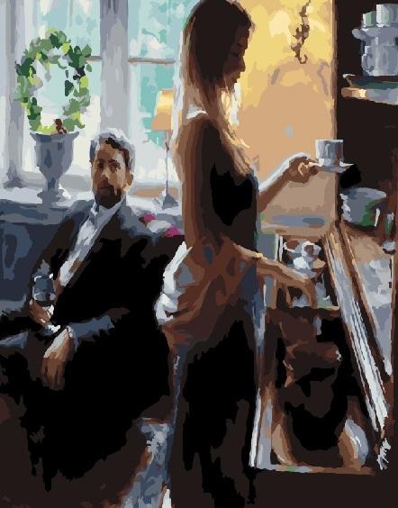 Картина по номерам 40x50 Женщина готовит кофе для любимого