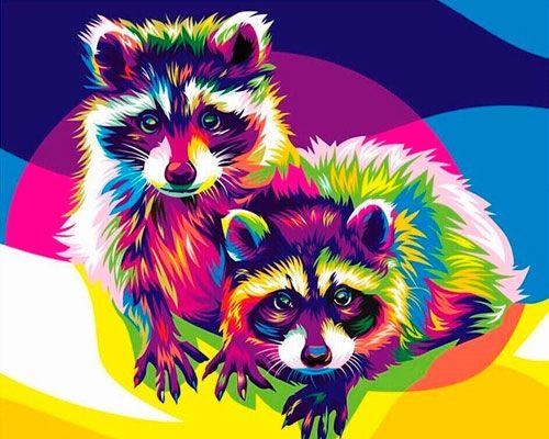 Картина по номерам 40x50 Пара енотов в стиле поп-арт