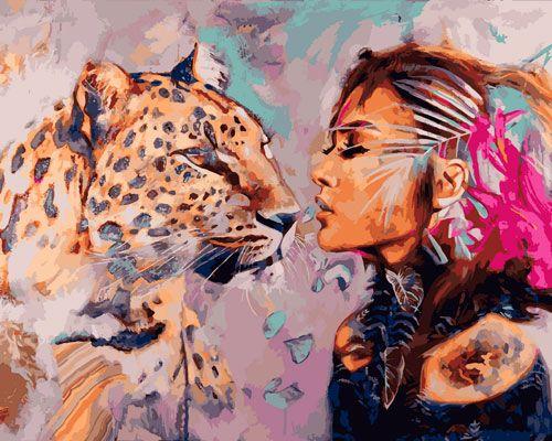 Картина по номерам 40x50 Девушка и леопард