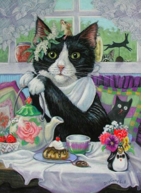 Картина по номерам 40x50 Чаепитие с любимым котом